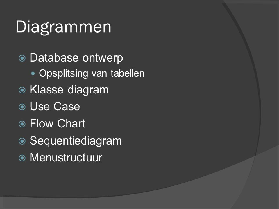 Diagrammen Database ontwerp Klasse diagram Use Case Flow Chart