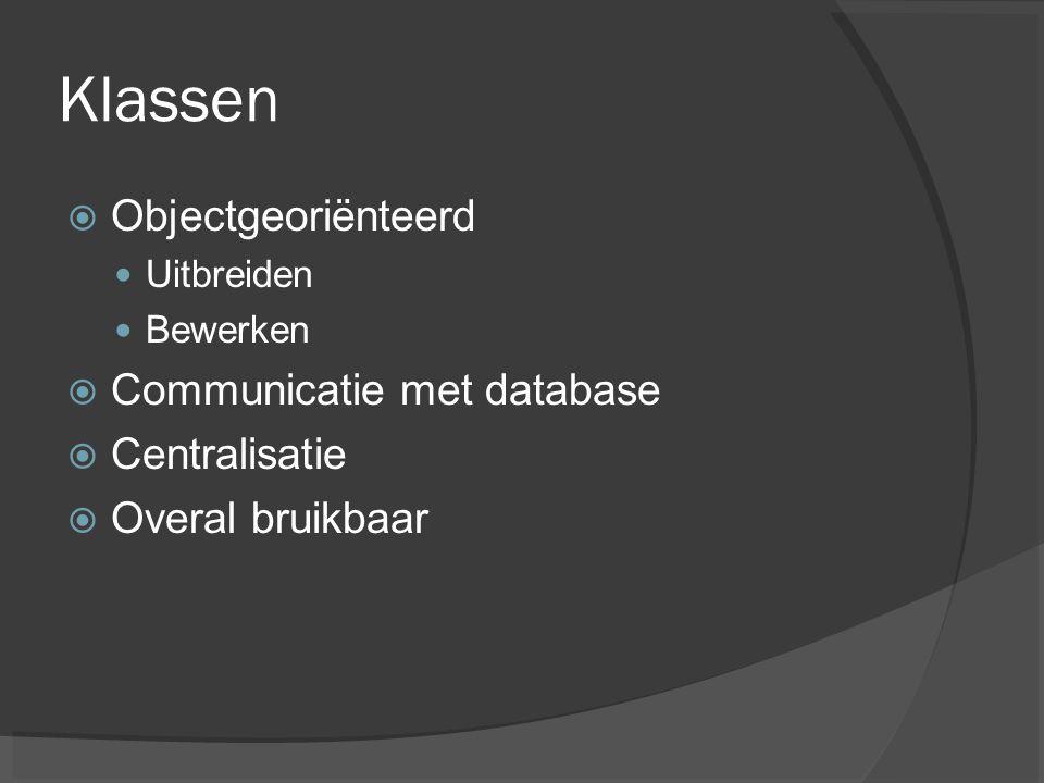 Klassen Objectgeoriënteerd Communicatie met database Centralisatie