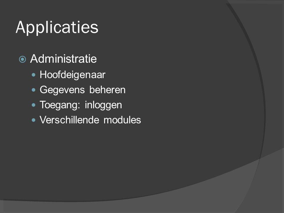 Applicaties Administratie Hoofdeigenaar Gegevens beheren