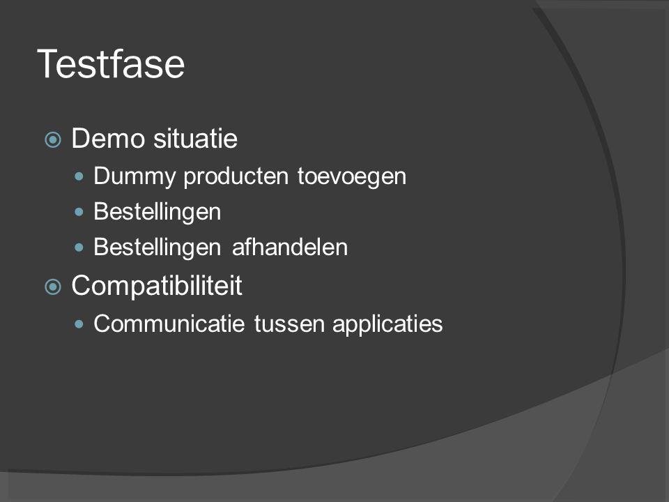 Testfase Demo situatie Compatibiliteit Dummy producten toevoegen