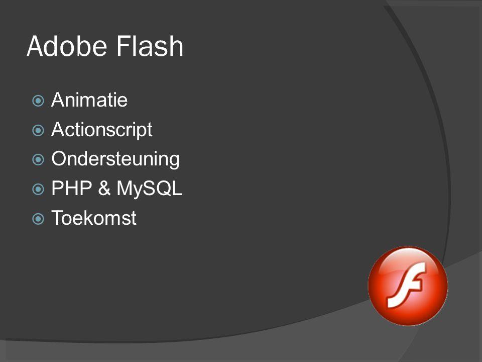 Adobe Flash Animatie Actionscript Ondersteuning PHP & MySQL Toekomst