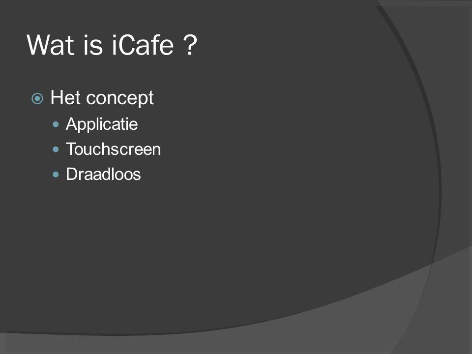 Wat is iCafe Het concept Applicatie Touchscreen Draadloos