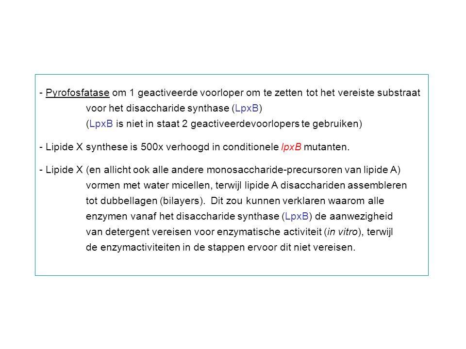 - Pyrofosfatase om 1 geactiveerde voorloper om te zetten tot het vereiste substraat