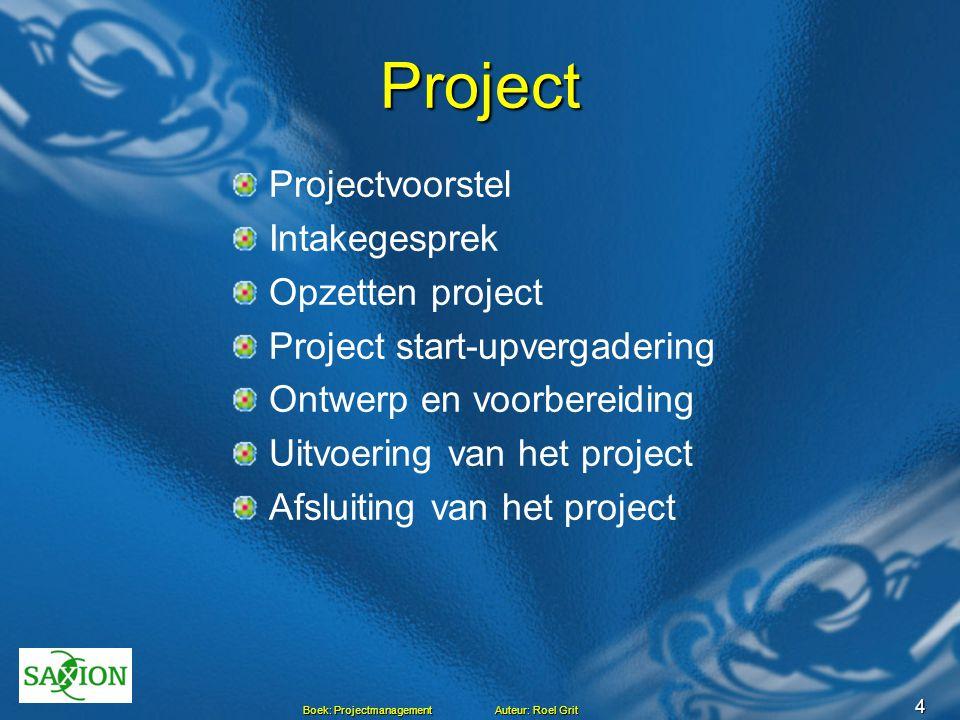 Project Projectvoorstel Intakegesprek Opzetten project