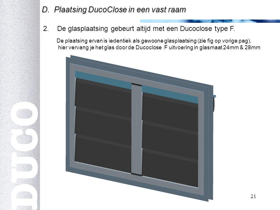 De glasplaatsing gebeurt altijd met een Ducoclose type F.