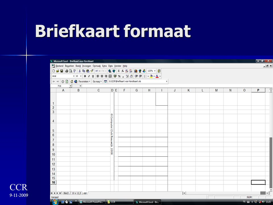 Briefkaart formaat CCR