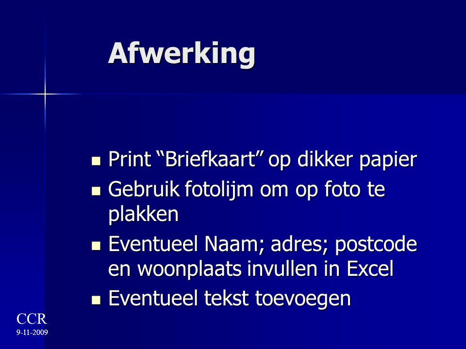 Afwerking Print Briefkaart op dikker papier