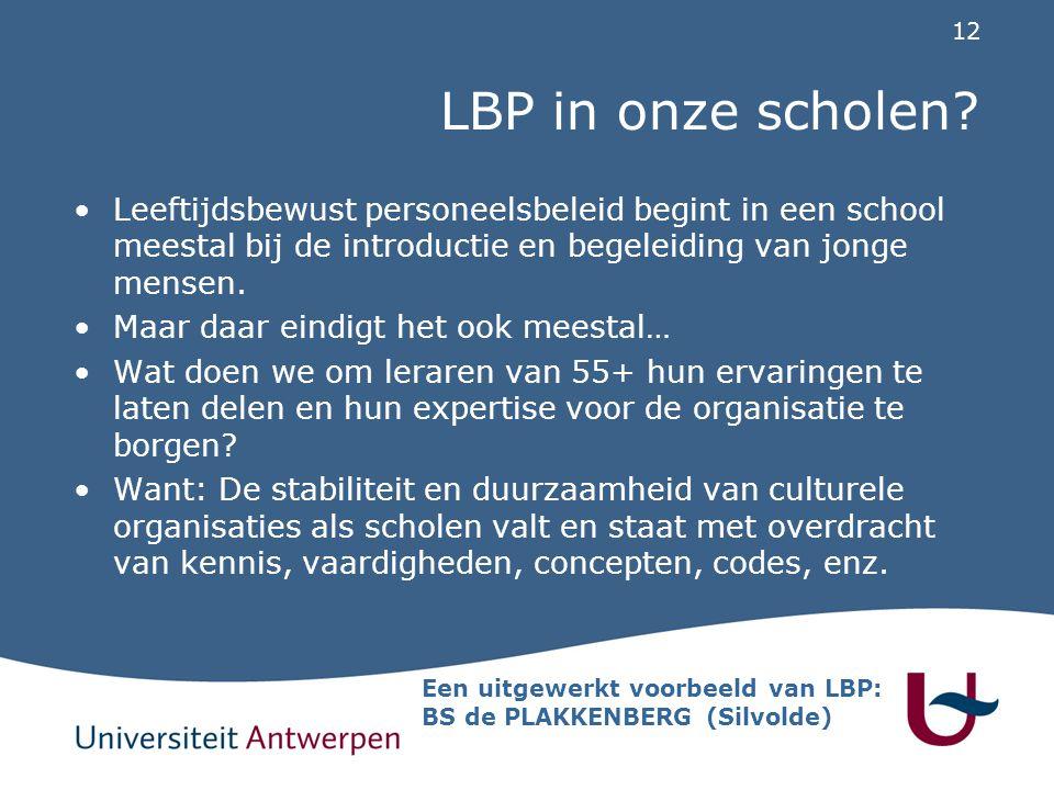 LBP in onze scholen Leeftijdsbewust personeelsbeleid begint in een school meestal bij de introductie en begeleiding van jonge mensen.