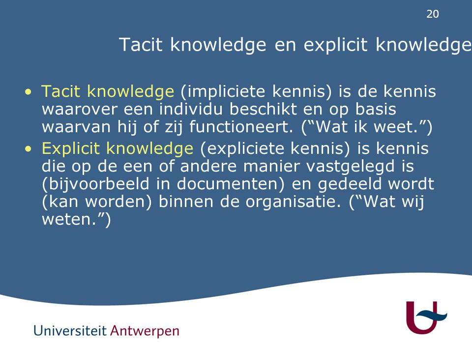 Tacit knowledge en explicit knowledge