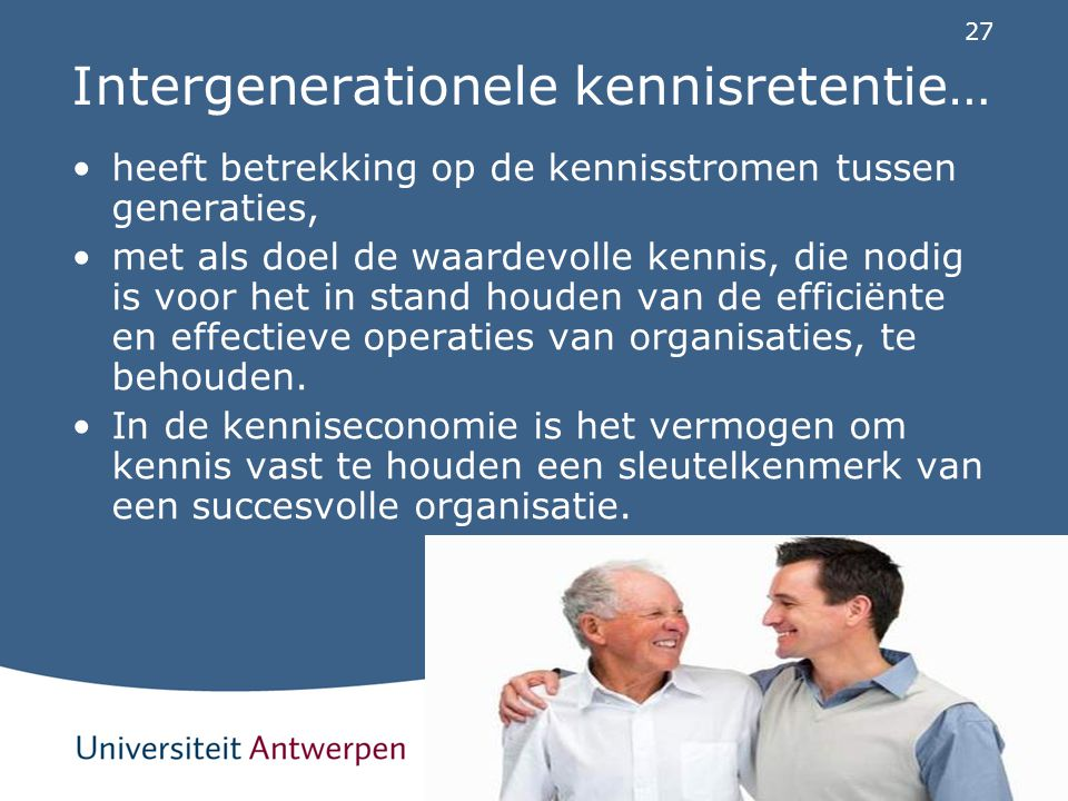 Intergenerationele kennisretentie…