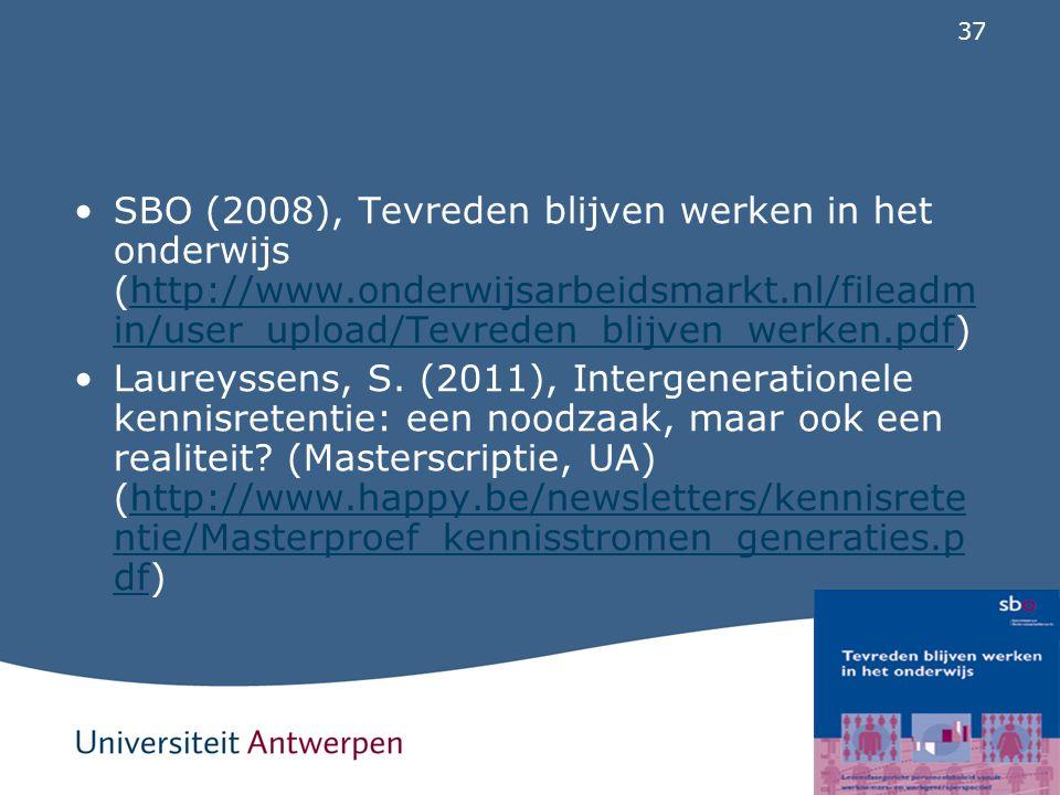 SBO (2008), Tevreden blijven werken in het onderwijs (http://www