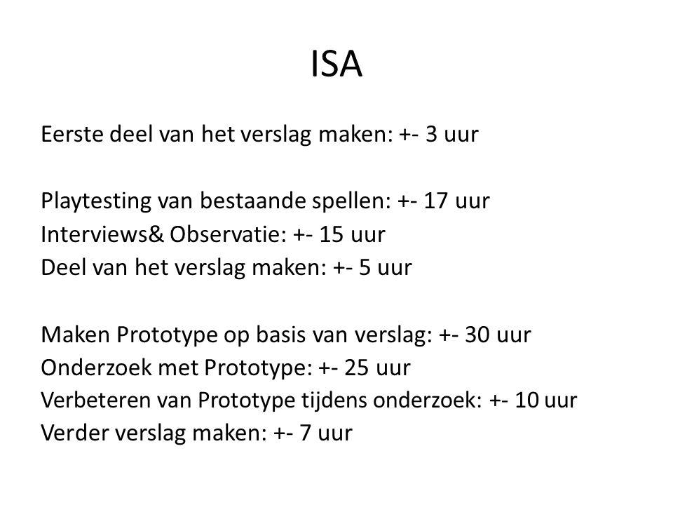 ISA Eerste deel van het verslag maken: +- 3 uur