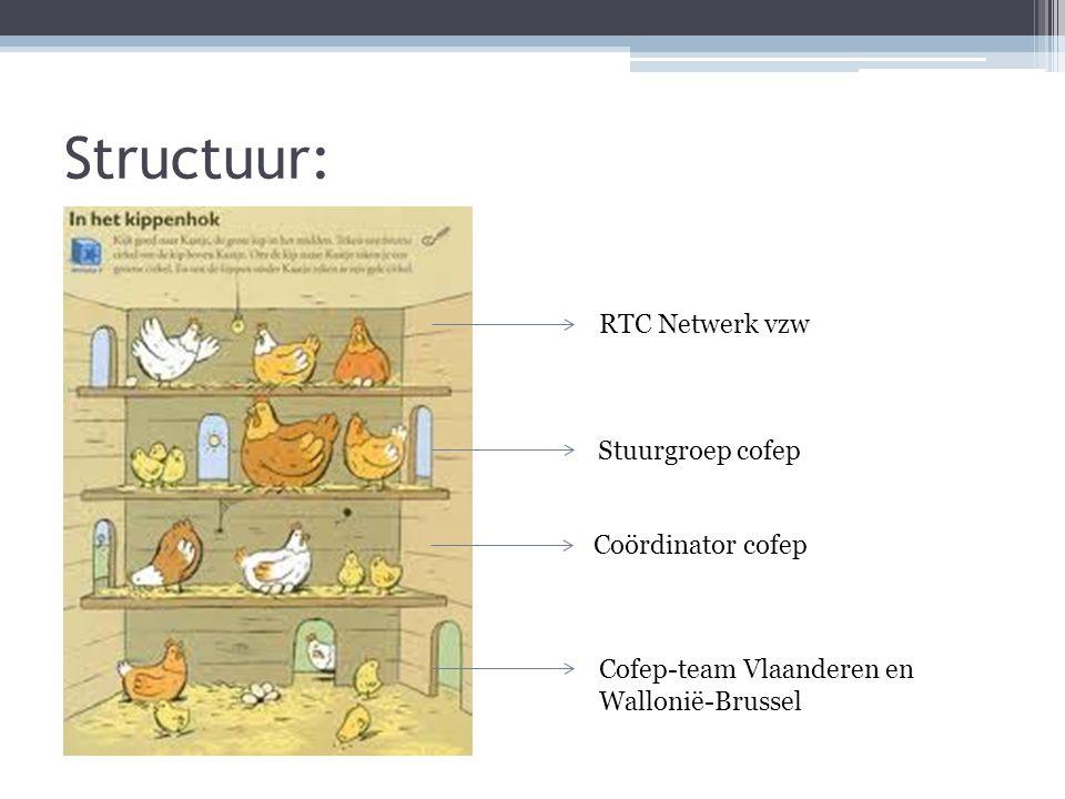 Structuur: RTC Netwerk vzw Stuurgroep cofep Coördinator cofep