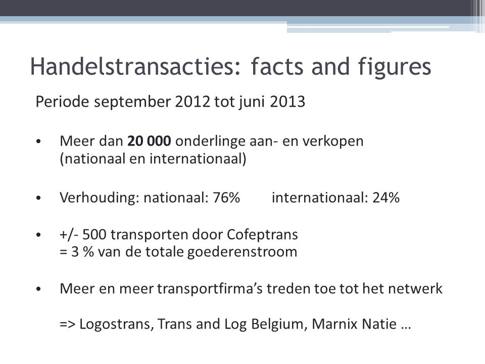 Handelstransacties: facts and figures