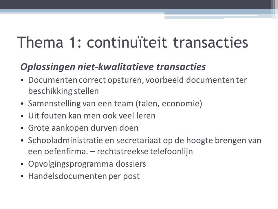 Thema 1: continuïteit transacties