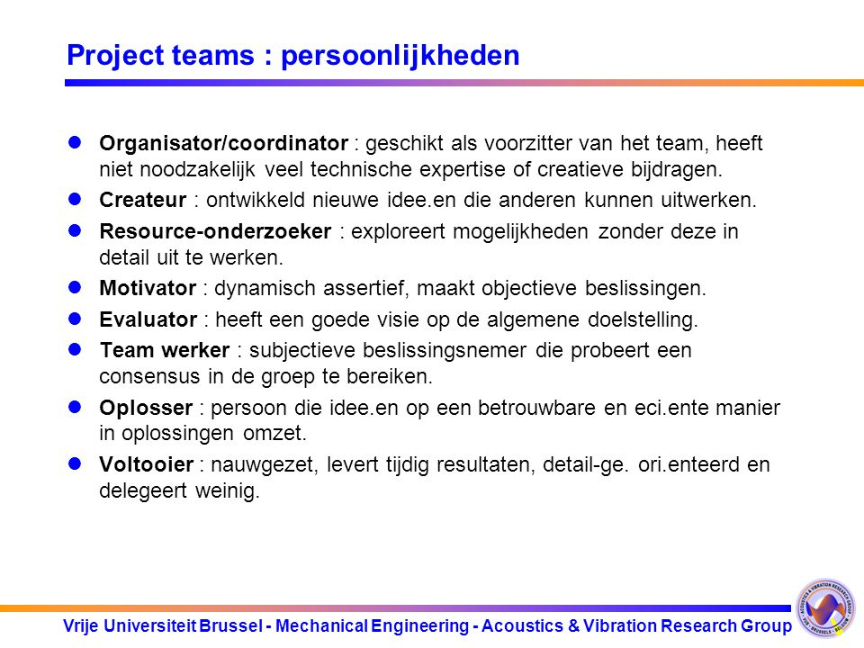 Project teams : persoonlijkheden