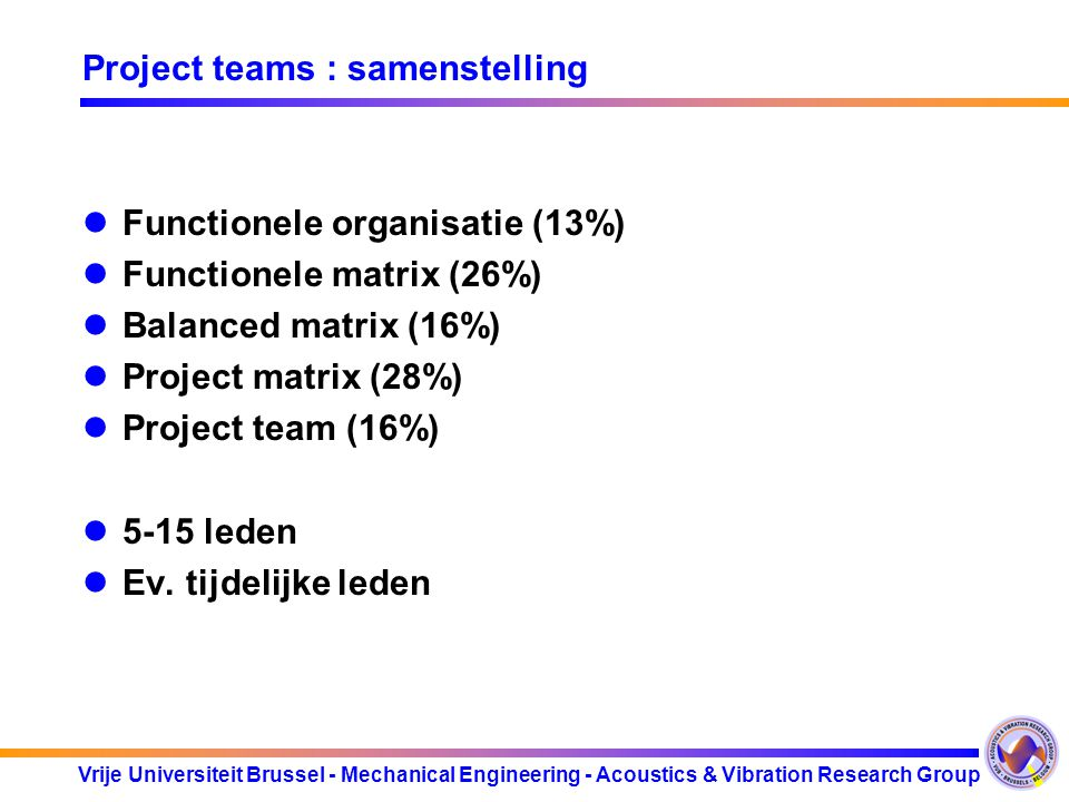 Project teams : samenstelling