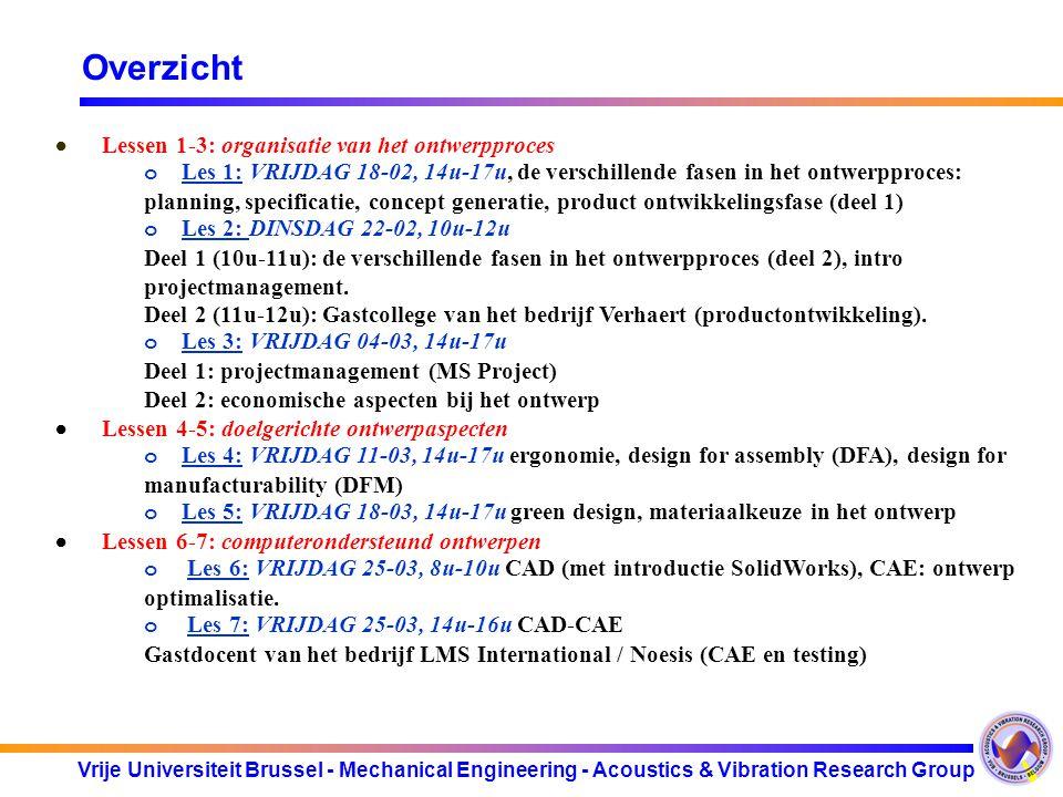 Overzicht · Lessen 1-3: organisatie van het ontwerpproces