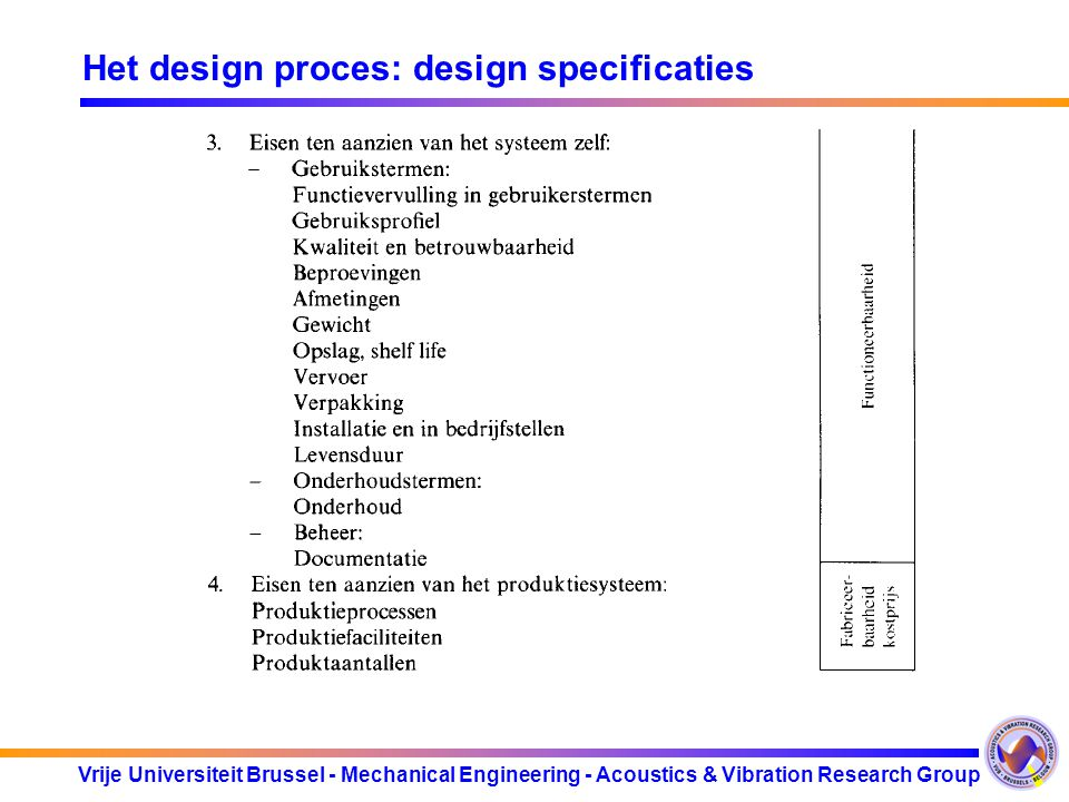 Het design proces: design specificaties