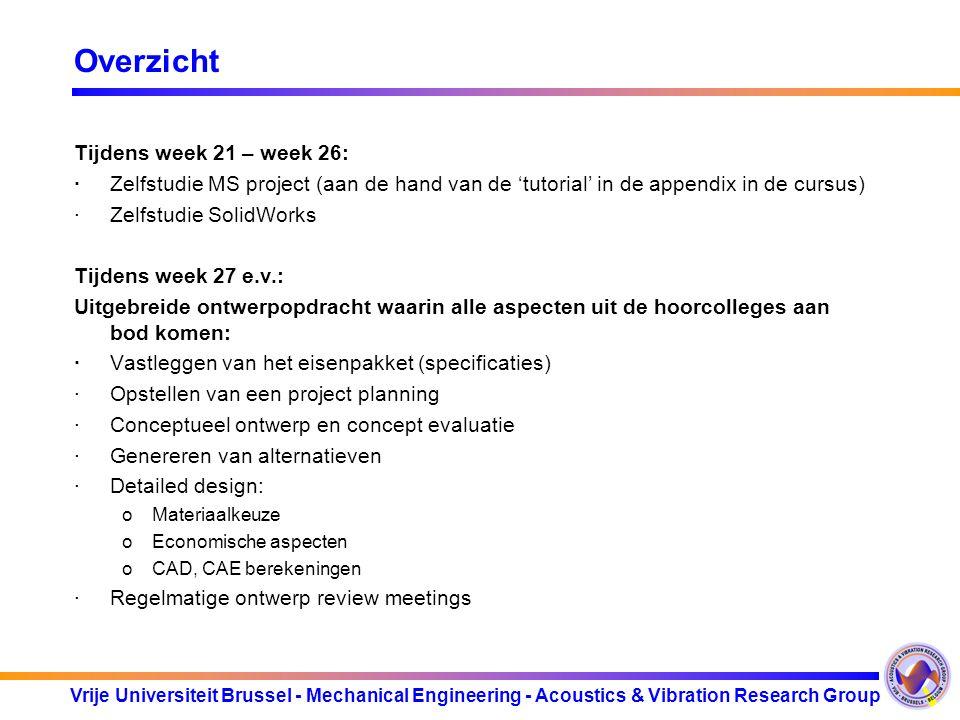 Overzicht Tijdens week 21 – week 26: