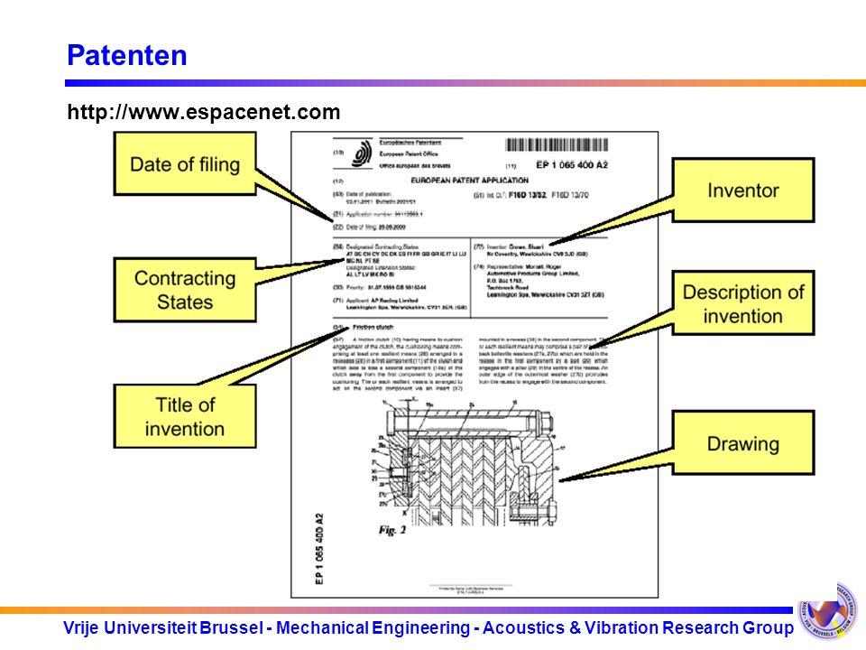 Patenten http://www.espacenet.com