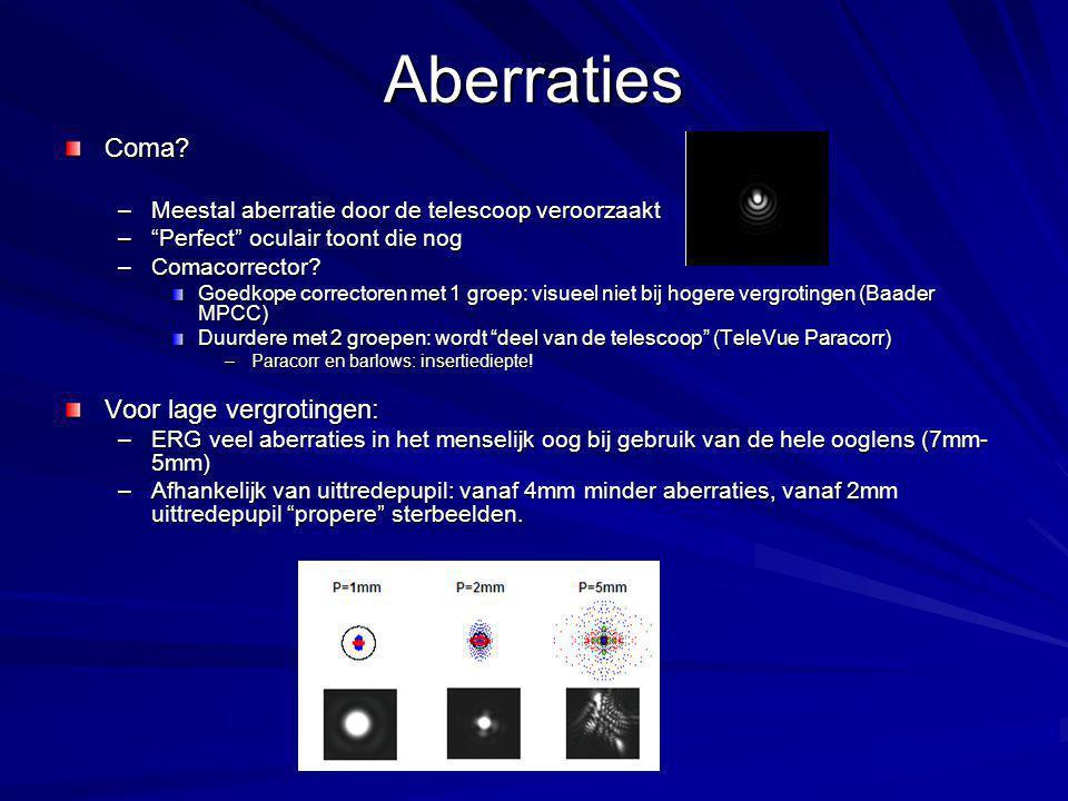 Aberraties Coma Voor lage vergrotingen:
