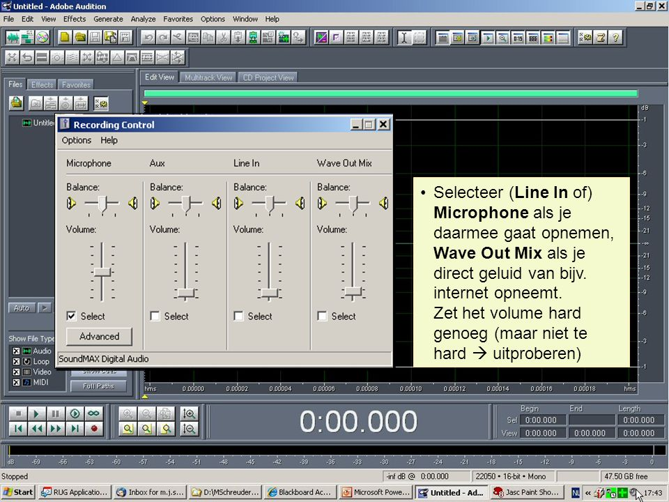 Selecteer (Line In of) Microphone als je daarmee gaat opnemen, Wave Out Mix als je direct geluid van bijv.