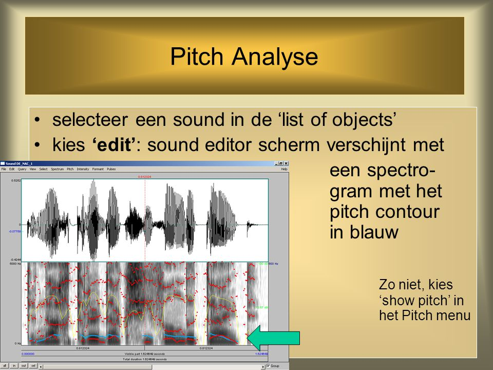 Pitch Analyse selecteer een sound in de 'list of objects'