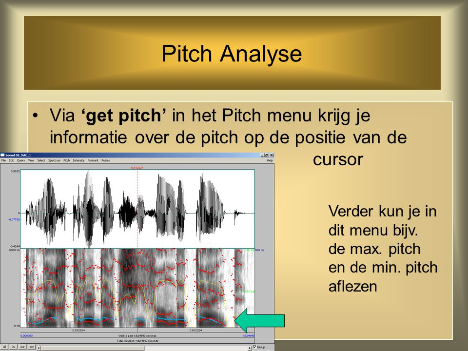 Pitch Analyse Via 'get pitch' in het Pitch menu krijg je informatie over de pitch op de positie van de cursor.