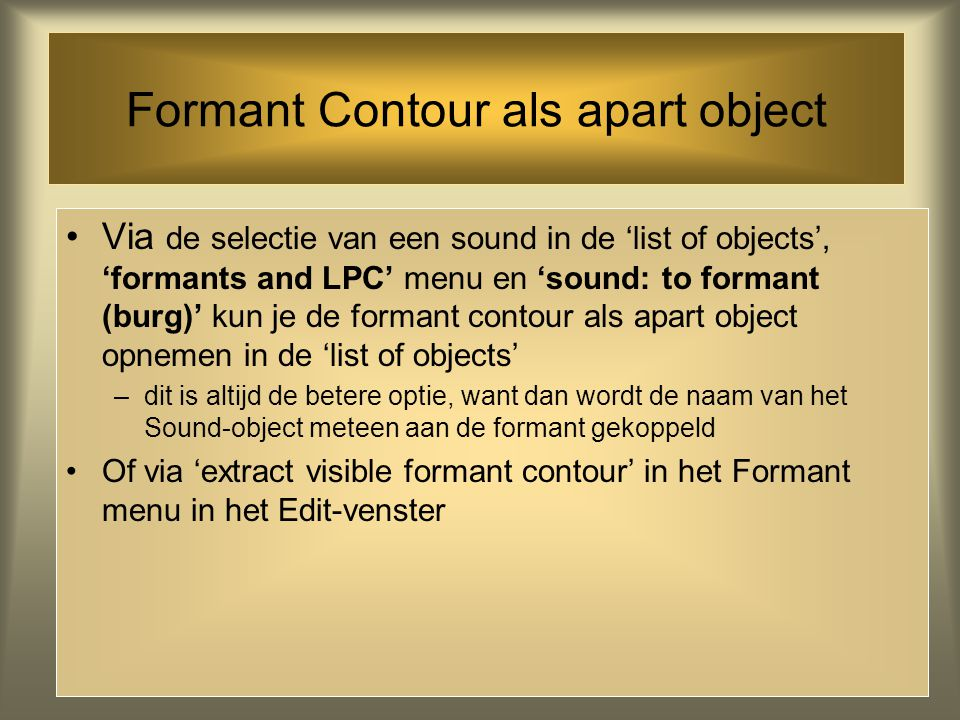 Formant Contour als apart object