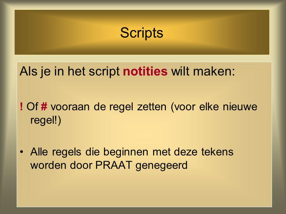 Scripts Als je in het script notities wilt maken: