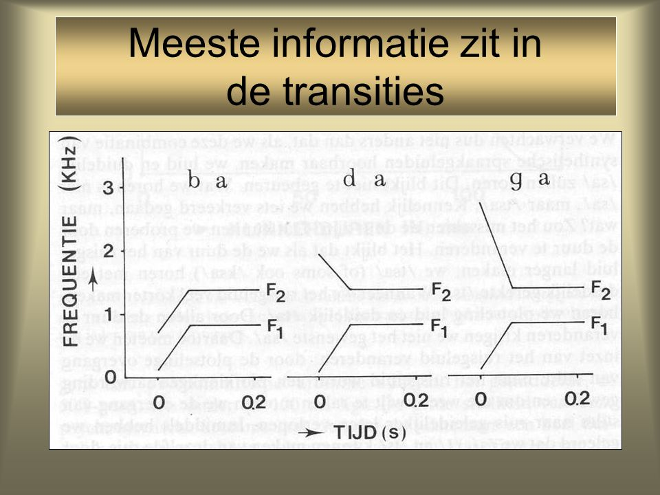 Meeste informatie zit in de transities