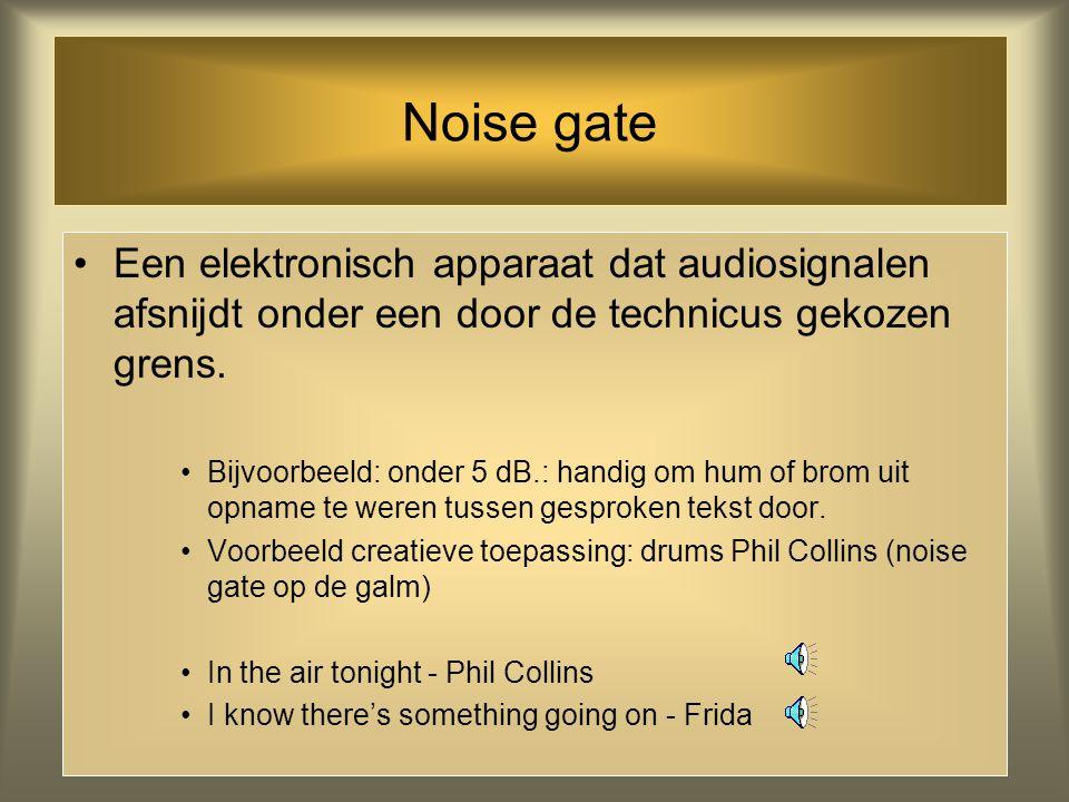 Noise gate Een elektronisch apparaat dat audiosignalen afsnijdt onder een door de technicus gekozen grens.