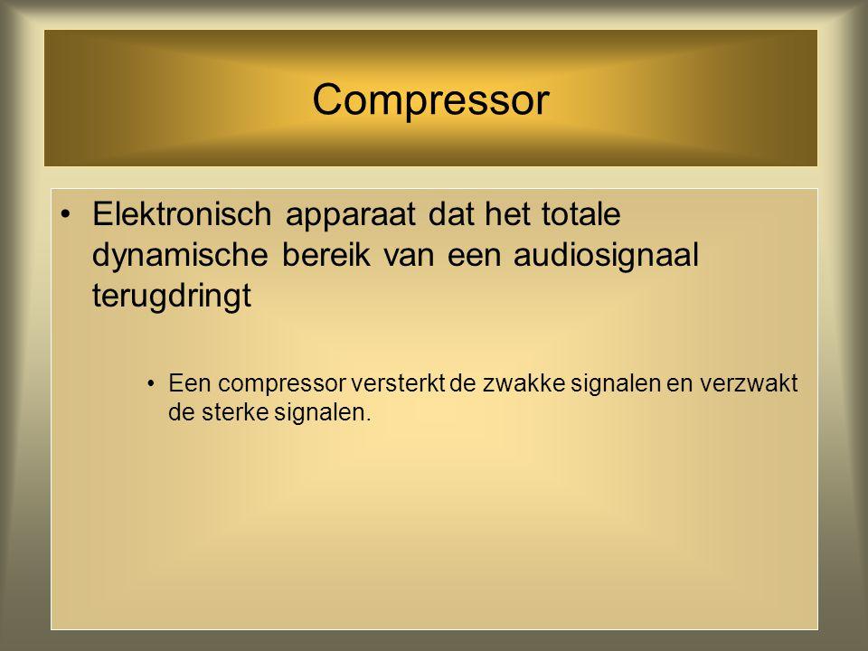Compressor Elektronisch apparaat dat het totale dynamische bereik van een audiosignaal terugdringt.