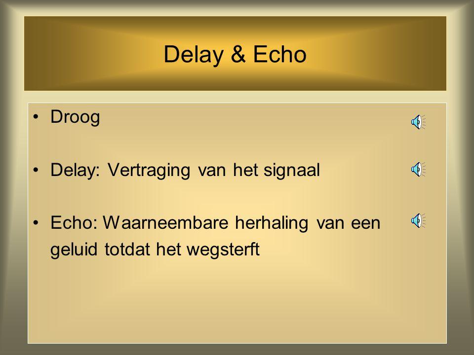 Delay & Echo Droog Delay: Vertraging van het signaal