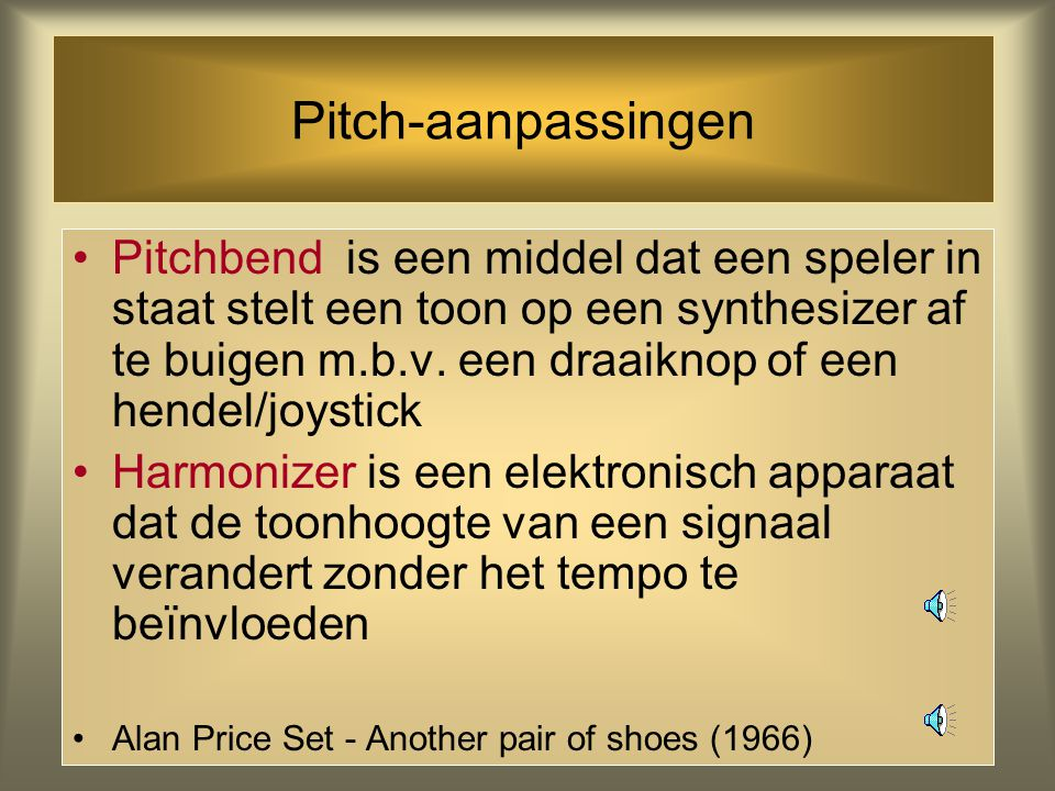 Pitch-aanpassingen