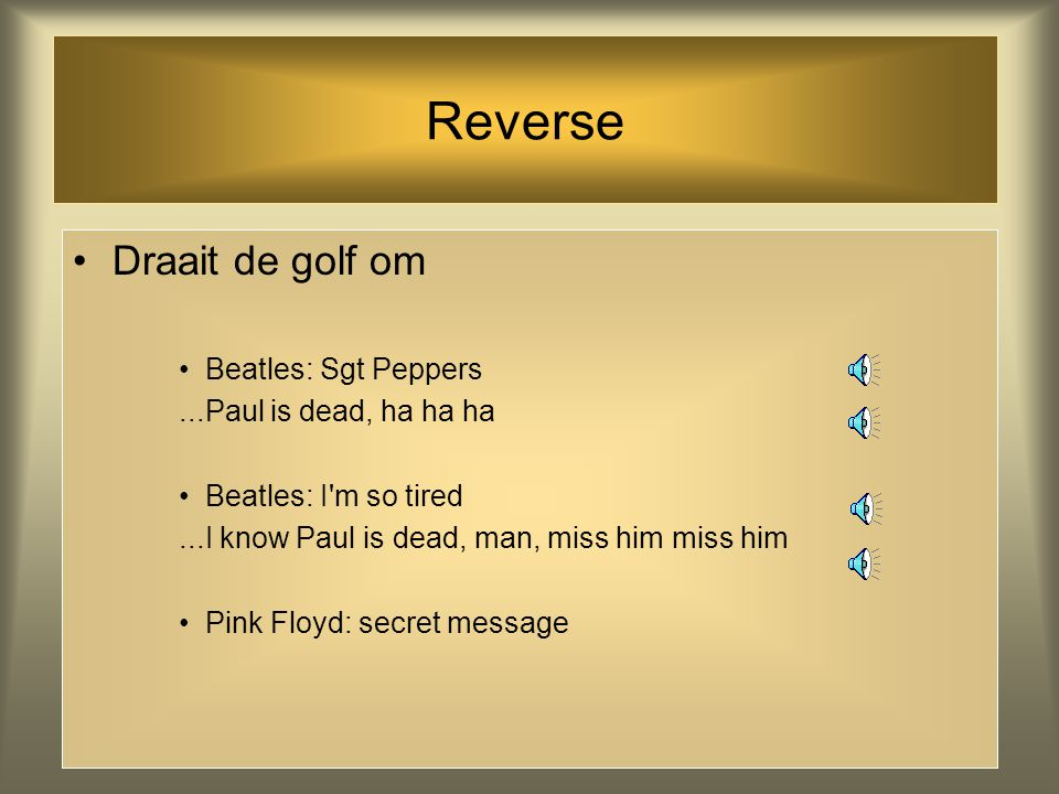 Reverse Draait de golf om Beatles: Sgt Peppers