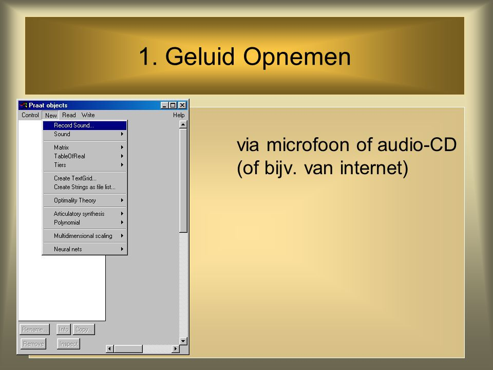 1. Geluid Opnemen via microfoon of audio-CD (of bijv. van internet)