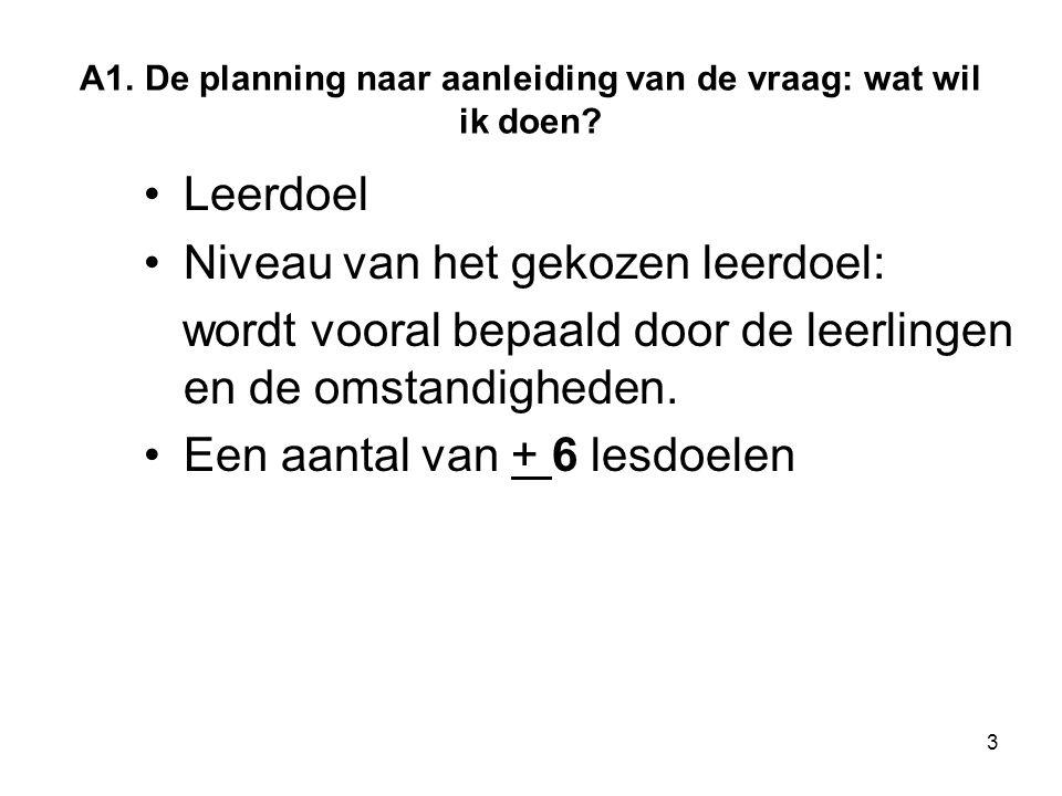 A1. De planning naar aanleiding van de vraag: wat wil ik doen