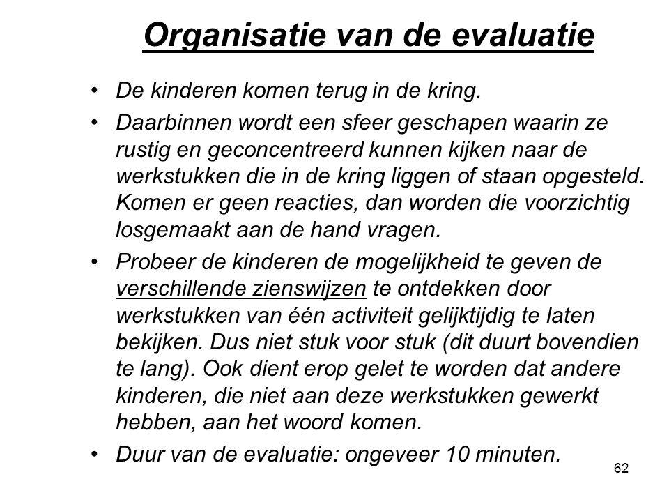 Organisatie van de evaluatie