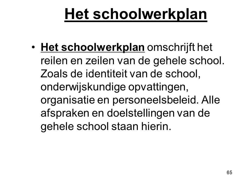 Het schoolwerkplan