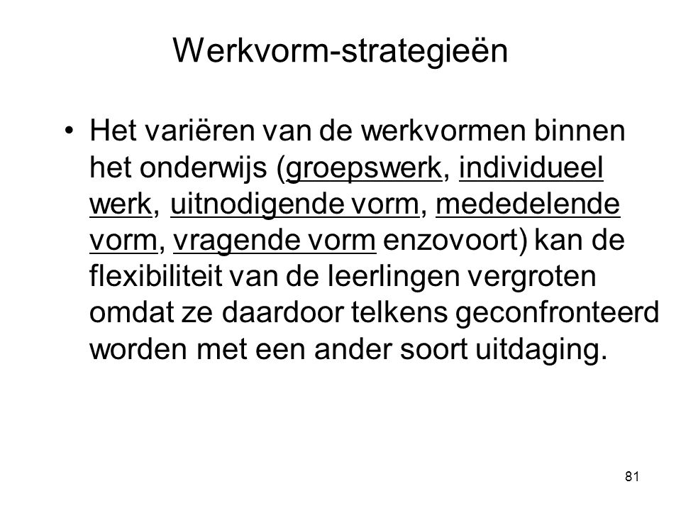 Werkvorm-strategieën