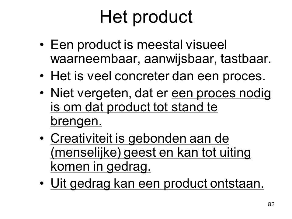 Het product Een product is meestal visueel waarneembaar, aanwijsbaar, tastbaar. Het is veel concreter dan een proces.