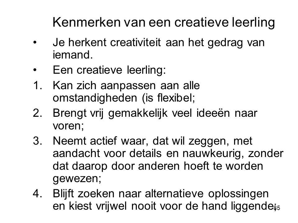 Kenmerken van een creatieve leerling