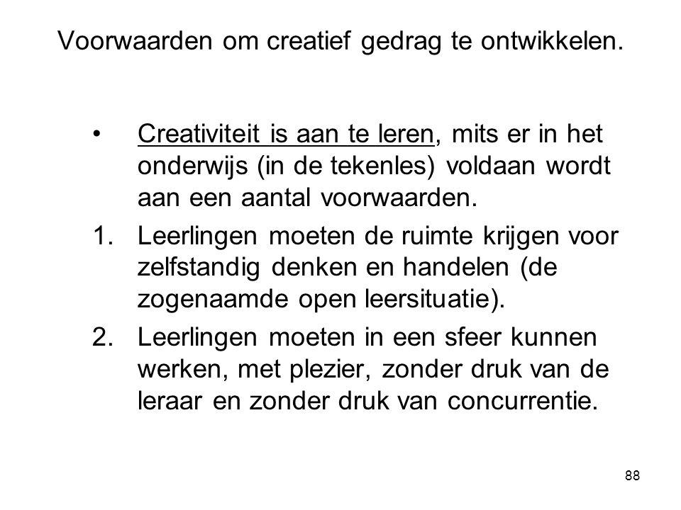 Voorwaarden om creatief gedrag te ontwikkelen.