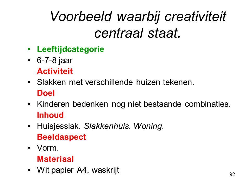 Voorbeeld waarbij creativiteit centraal staat.