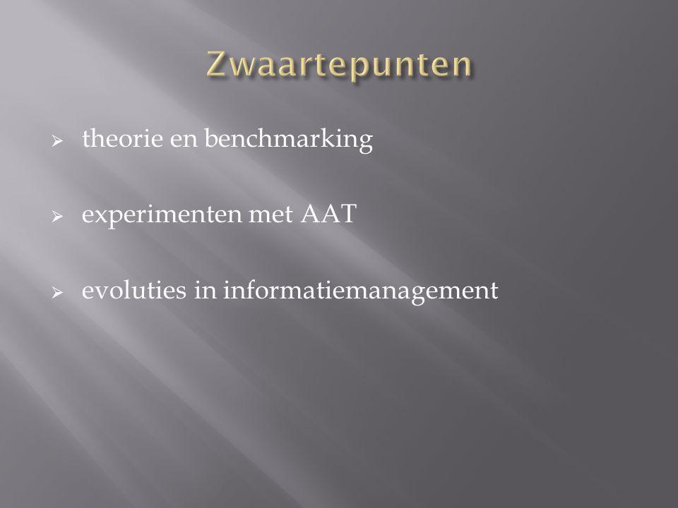 Zwaartepunten theorie en benchmarking experimenten met AAT