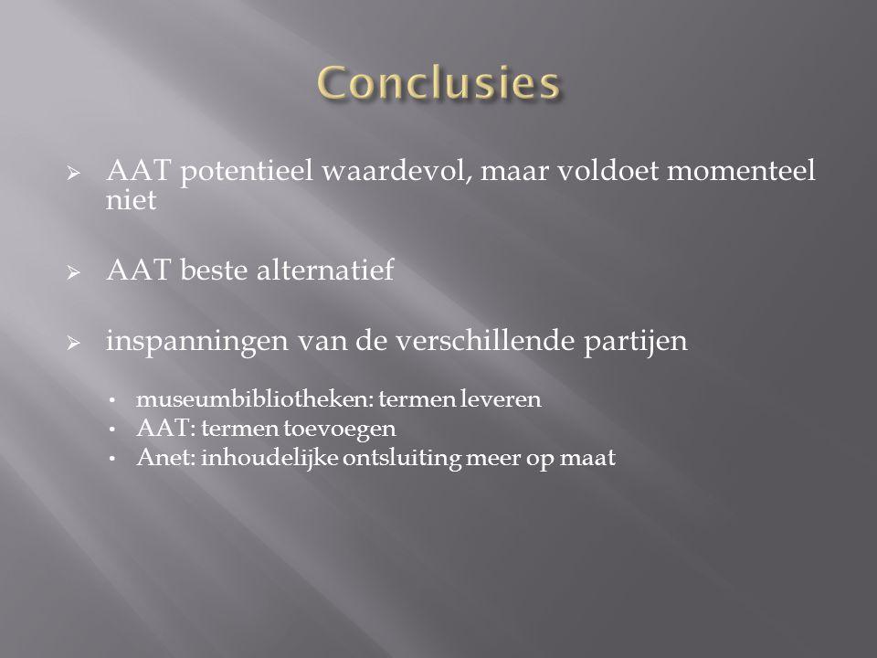 Conclusies AAT potentieel waardevol, maar voldoet momenteel niet