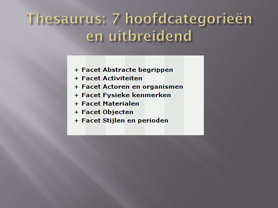 Thesaurus: 7 hoofdcategorieën en uitbreidend