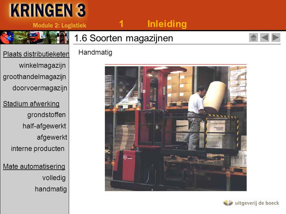 1 Inleiding 1.6 Soorten magazijnen Handmatig Plaats distributieketen